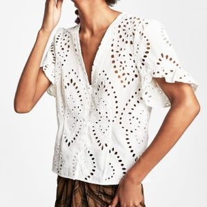 Zara Die Cut Embroidered Top Blouse